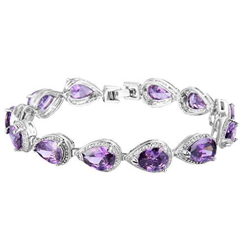 EVER FAITH Women's Prong CZ February Birthstone Teardrop Tennis Bracelet Amethyst Color Silver-Tone (Roman Head Wear)