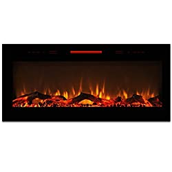 "Elite Flame 50"" Fusion Log Built-in Smokeless Wall Mounted Electric Fireplace by Elite Flame"