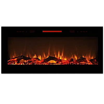 "Elite Flame 50"" Fusion Log Built-in Smokeless Wall Mounted Electric Fireplace"