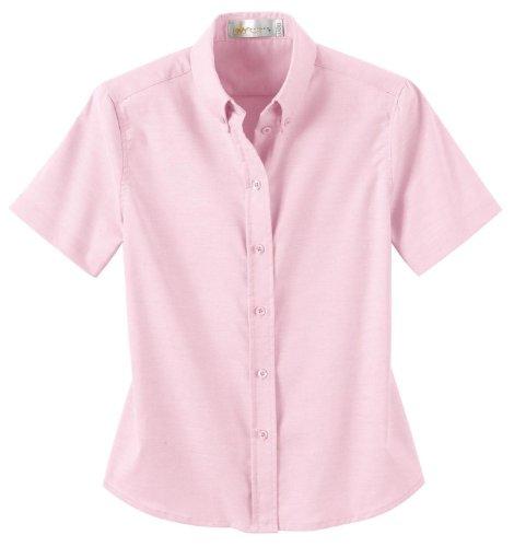 Ash City Ladies' Short Sleeve Button Down Oxford Shirt, M, Powder Pink