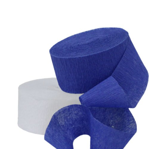 DENNECREPE Blue Crepe Paper Streamers 2 Rolls 145 ft Total - Made in USA