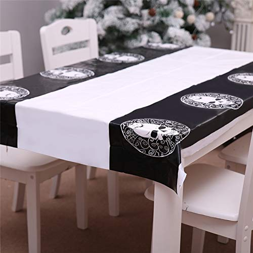 Waterproof Tablecloth - 1pcs 180x108cm Halloween Table Cloth Waterproof Pvc Pumpkin Skull Printing Rectangle Tafelkleed Rond - Gold Rectangular Unique Teal Square Taupe Tablecloths Crumb 60x