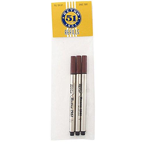 Retro 1951 Short Capless Rollerball Ink Refill, Black, 3-Pack (REF5P-B)