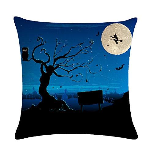 MLMM 2019 Halloween Atmosphere Decorative Skull Series Linen Pillowcase Blue 4 1.481.48£¨ft
