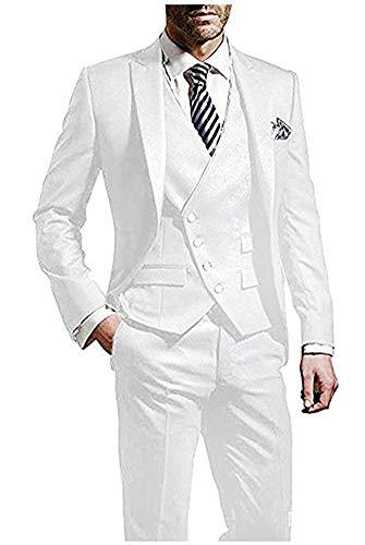 Peak Lapel Men Suits White 3 Pieces Tailcoat Suits Wedding Suits Groom Tuxedos White 42 chest/36 waist ()