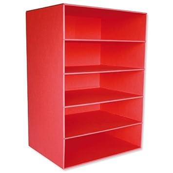 Intensive AbyFStrBk - Módulos para archivo (2 unidades, cartón reciclado, con 5 baldas para archivadores o para insertar cajones), color rojo: Amazon.es: ...