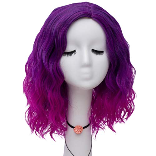 Labeauté Apple Collection Rainbow Ombre Short Curly Lolita Wig for Women+Wig Cap (Ombre Purple) (Best Budget Hair Straightener)