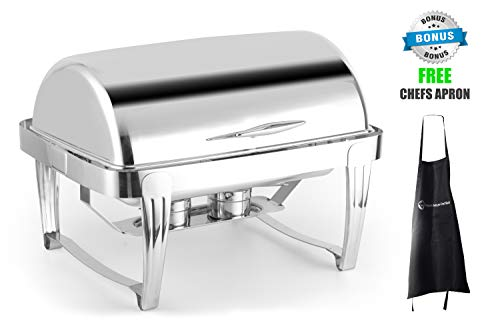 ChefMaid Deluxe High End Stainless Steel Chafer with Roll Top, 8 Quart Chafing Dish Set With BONUS FREE CHEFS APRON