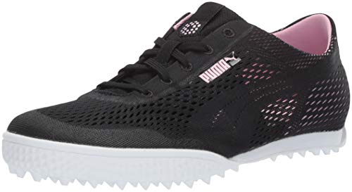 Puma Golf Women's Monolite Cat Woven Golf Shoe, Puma Black-Pale Pink, 10.5 M US