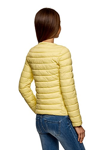 con Ultra oodji Mujer Amarillo Acolchada 5201n Chaqueta Redondo Cuello gUyCqg