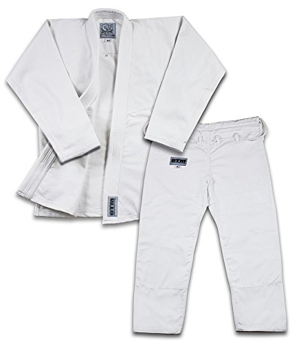 Brand Name Light Weight BJJ Gi Starter Bundle Includes Light Weight White Jiu Jitsu Belt And 2 Traininig DVD (White, A1)