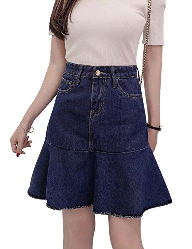 Tanming Women's Above Knee Length Ruffle Hem A-Line Denim Skirt (Small, Blue)