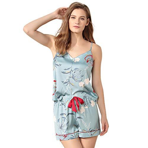(Ritera Women's Flower Cami Shorts Slip Pajamas Silky Satin Boho Floral Print Sleepwear Nighty Set (L) Light Blue)