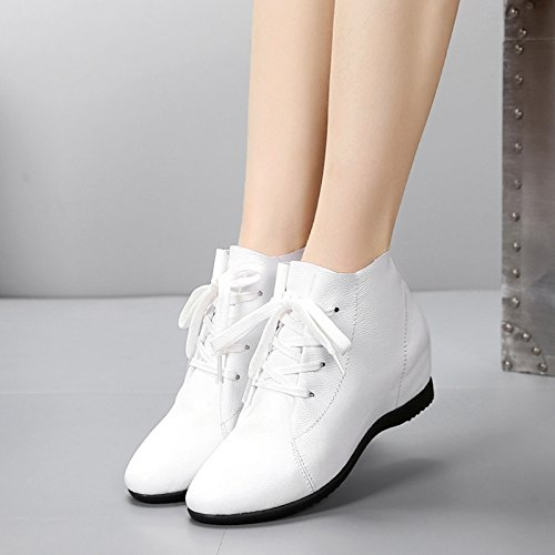 KHSKX-Real Leather Short Boots Increased Inside Single Shoes Middle Heel Single Boots Martin Boots White