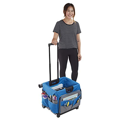 ECR4Kids MemoryStor Universal Rolling Cart and Organizer Bag Set, Blue