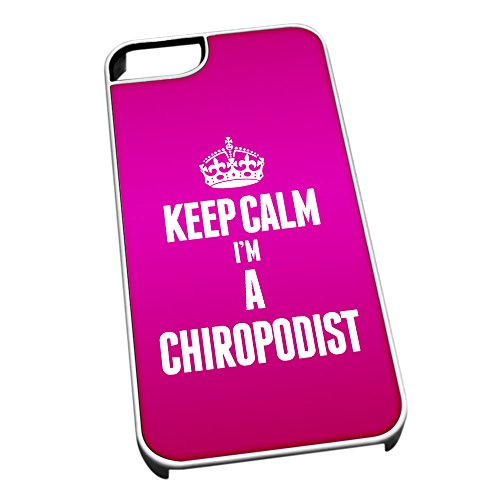 Bianco cover per iPhone 5/5S 2551 rosa Keep Calm I m A Chiropodist