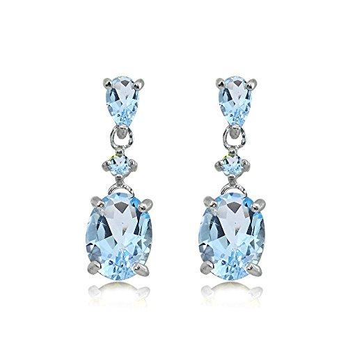 Sterling Silver Blue Topaz Oval Three Stone Dangling Stud Earrings