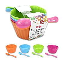 8 Pieces Plastic Ice Cream Bowls with Spoons, 4 Colors