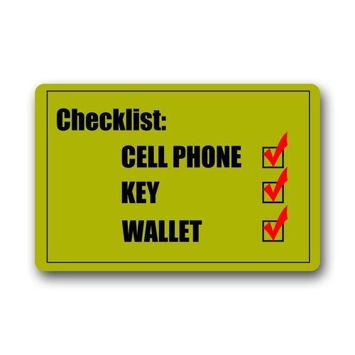 Yves Horace Checklist Cell Phone Key Wallet Custom Doormat Door Mat Machine Washable Rug Non Slip Mats Bathroom Kitchen Decor Area Rug 30x18 inch