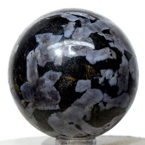 51mm Blizzard Indigo Gabbro Sphere Natural Mineral Ball Mystic Merlinite Crystal Polished Stone - Madagascar + Stand