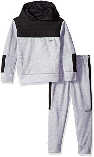 RBX Boys' Big Pullover Fleece Hoodie and Jogger Set, Grey Heather/Black, 8