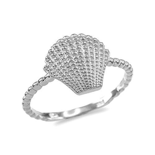Fine 14k White Gold Seashell Beaded Band Ring (Size 8) 14k Gold Seashell Ring