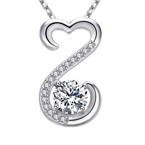 Sterling Open Heart - Apotie 925 Sterling Silver Charm Infinity Open Heart with White CZ Charm Pendant Necklace Long Chain Gift Jewelry for Women