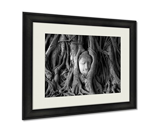 Ashley Framed Prints Ancient Head Of Sandstone Buddha In The Tree Roots Form Ayutthay Art photography interior design artwork framed office 24x30 art - Sandstone Framed