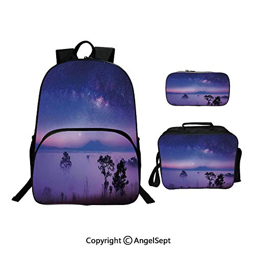 Fashion Casual School Student Backpack,Milk Way Starry Night in a National Park Thailand Mystical Forest Scenery Picture Purple Blue,Lightweight Daypack With Lunch Bag And Pencil Case For Girls