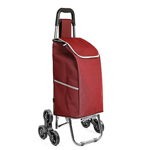 上昇の買物車買物車小さいカートの荷物のトロリー折るトレーラーのトロリートロリー家のポータブル B07SDQNRLP Red