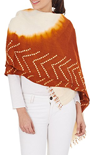 Rusty Orange Cream Women Indian Handmade Woolen Shawl Tie-Dye Gifts 36X80 Inch by ShalinIndia
