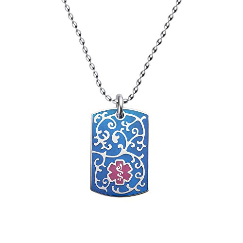 Divoti Deep Custom Laser Engraved 316L Filigree Medical Alert Necklace - Medical Alert ID Dog Tags Pendant -Stainless Rice Bead Chain (24/28 in)-TP Magenta/TP ()