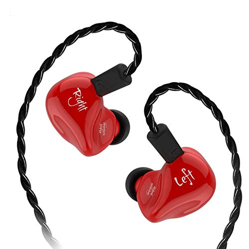 KZ ZS4 High Fidelity Headphones,KZ earbud,In Ear Earphones,Powerfull Bass In ear Monitors,Exchange Cable design and Balanced Armature Dynamic Hybrid for Sound Customization Earphone(Without Mic - Red)