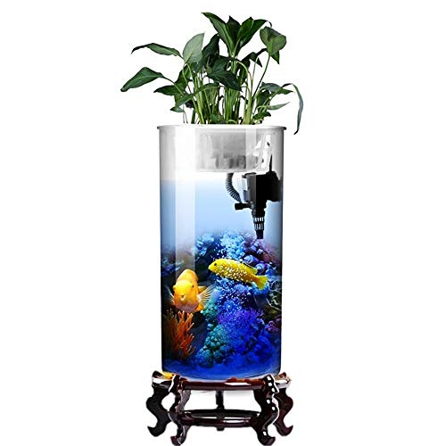 (BEITAI Cylindrical Fish Tank Living Room Glass Vertical Aquarium Small and Medium Desktop Filter Goldfish Tank (Color : Fish Tank, Size : Height 95cm))