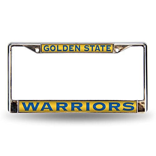 Rico Industries NBA Golden State Warriors Laser Cut Inlaid Standard Chrome License Plate Frame