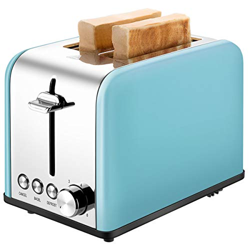 Toaster 2 Slice, CUSINAID Extra Wide Slots Toaster with BAGEL/DEFROST/CANCEL Function, Stainless Steel Two Slice Bread Bagel Toaster, 825W, Retro ()
