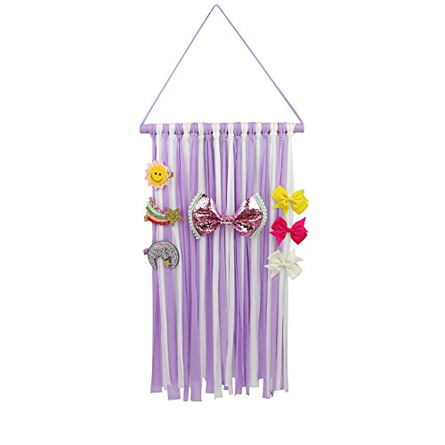 Nancyus005 Hair Bow Holder Organizer Storage White Purple Hair Clips Hanger for Girls