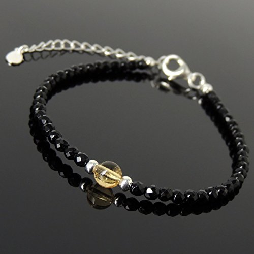 Men and Women Bracelet Handmade with 5mm Natural Citrine, 3mm Faceted Black Onyx and Genuine 925 Sterling Silver Beads, Clasp with (Link Onyx)