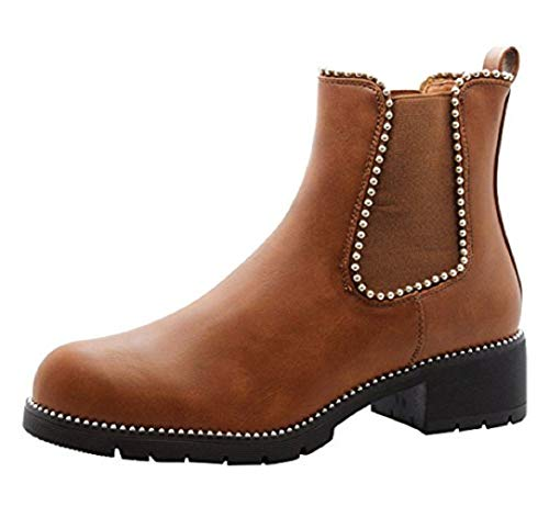 Ladies Womens Block Chunky Heels Chelsea Ankle Boots Grip Sole Office Shoes Size 3-8 New Camel Tan Studded