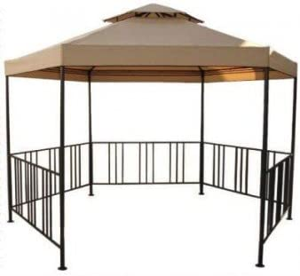 Gazebo hexagonal de metal con cremallera lateral, toldo capuchino ...