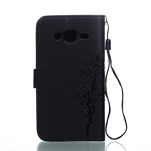 SRY-Funda móvil Samsung Samsung J3 2016 correa de la caja del acollador cubierta de cuero de la PU sintética caso de la cartera Folio Shell en relieve patrón de flores cubierta de la caja para Galaxy  Black