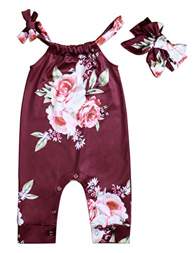 Floral Baby Clothes - Lankey Baby Girls Clothes Floral Jumpsuit Long Sleeveless Romper Bodysuit+Headband Outfits (Brick red, 12-18 Months)
