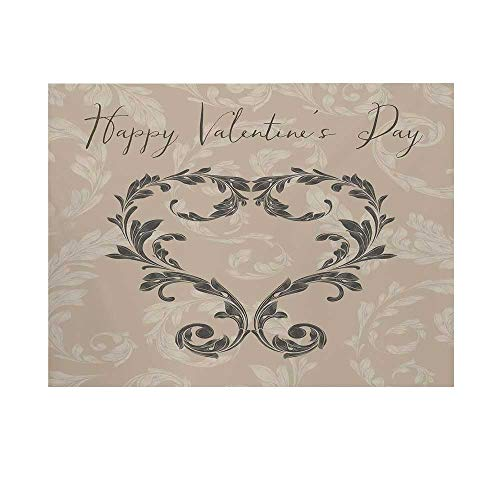 Taupe Photography Background,Happy Valentines Day Stylized Hand Writing Laurel Leaves Forming a Heart Victorian Backdrop for Studio,7x5ft