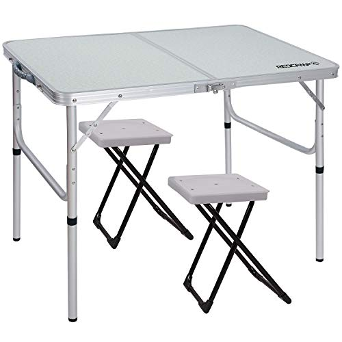 Cheap REDCAMP Folding Camping Table Portable 2 Stools, 3 Foot Aluminum Picnic Table Adjustable, 35.4″ x 23.6″ x 15″ / 27.6″