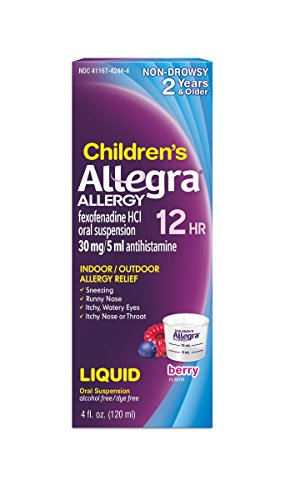 Allegra Children's 12 Hour Allergy Relief Berry, 4 Ounce Bottle, Long-Lasting Fast-Acting Allergy Relief for Children Ages 2 and Up, Liquid Antihistamine (Best Liquid Allergy Medicine)
