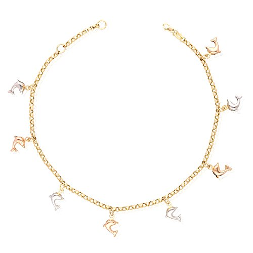 (14k Yellow Gold White Gold Tri-Color Gold Dolphin Charm Hollow Anklet Bracelet 9