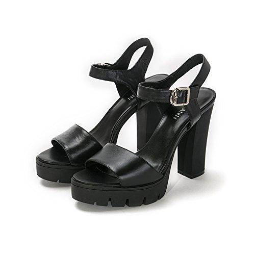 Una banda de pesados zapatos/Sandalias del alto talón/Zapatos de cuero impermeable Negro