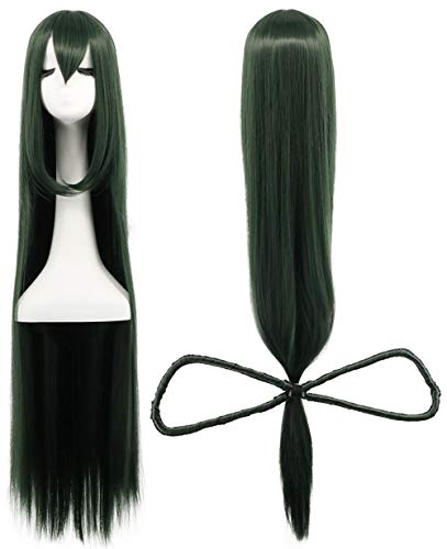 Karlery Women Long Dark Green Straight with Bow Bangs Wig Halloween Cosplay Wig Anime Costume Party (Best Wig With Bows)