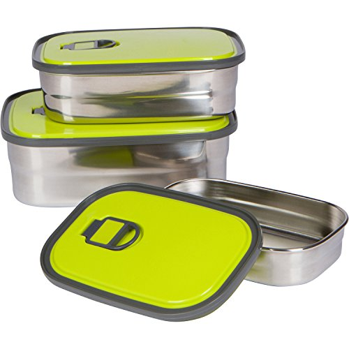Bambusa Stainless Steel Lunch Food Containers Bento Box, Leak Proof Seal, Healthy, Kids, Adults, Outdoor Picnic Meals, BPA Free, Green by Bambusa