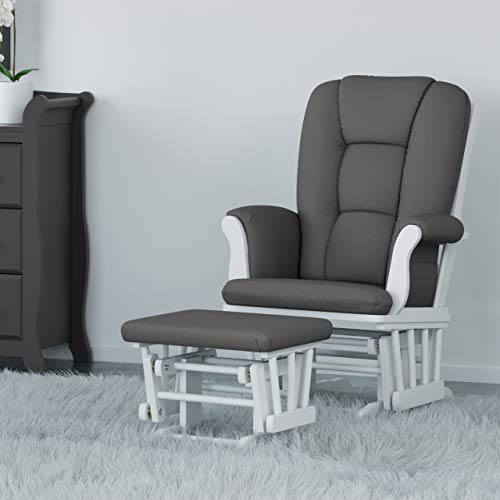 41WE069X1bL - Storkcraft Tuscany Custom Glider And Ottoman With Lumbar Pillow, White/Grey